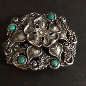 Floral Belt Buckle Silver tone Faux Turquoise
